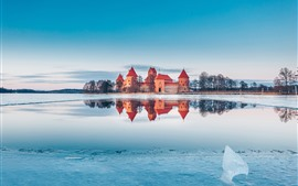 Preview wallpaper Trakai, Lithuania, castle, lake, snow, ice, winter