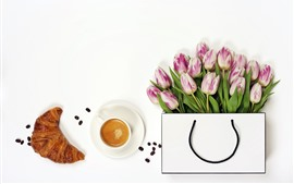Preview wallpaper Tulips, handbag, bread, coffee, white background