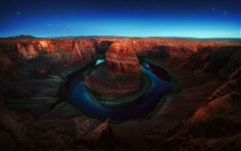 Preview wallpaper USA, Colorado, Horseshoe Bend, river, starry, nature landscape