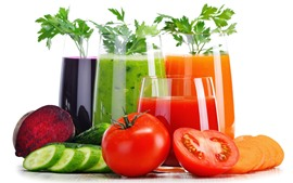 Preview wallpaper Vegetable juice, colorful, tomato, cucumber, carrot, white background