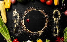 Preview wallpaper Vegetables, powder, painting, peppers