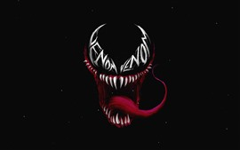 Preview wallpaper Venom, red tongue, black background