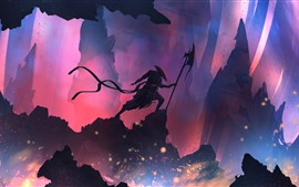 Preview wallpaper Warrior, mountains, silhouette, art picture
