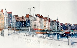 Preview wallpaper Watercolors, painting, France, Honfleur, Lower Normandy