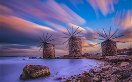 Windmill, coast, night