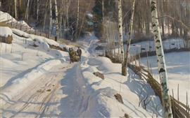 Preview wallpaper Winter, snow, birch, trees, horse, path, oil painting