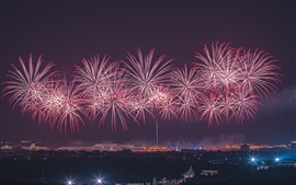 Preview wallpaper 70th Birthday of China, Beautiful fireworks at night in Beijing