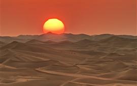 Abu Dhabi, Barkhan, desierto, puesta de sol