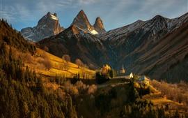 Альпы, Франция, горы, дома, деревья, солнечные лучи, склон, осень