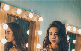 Preview wallpaper Asian girl, curly hair, mirror
