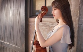 Preview wallpaper Asian girl, guitar, music