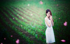 Preview wallpaper Asian girl, long hair, wish, green field