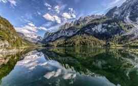 Autriche, lac gosau, alpes, montagnes, réflexion eau