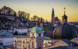 Áustria, Salzburgo, Igreja, cidade, árvores
