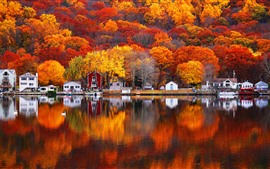 Preview wallpaper Autumn, lake, trees, houses, village, beautiful scenery