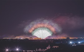 Preview wallpaper Beijing, fireworks, night, 70th Birthday of China