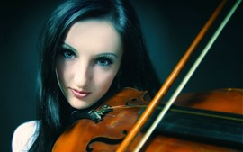 Preview wallpaper Black hair girl play violin, music