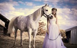 Blonde girl, skirt, white horse, summer