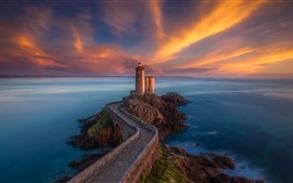 Preview wallpaper Brittany, France, lighthouse, bridge, sea, clouds, sunset