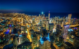 Preview wallpaper Chicago, city at night, top view, skyscrapers, lights, sea, USA