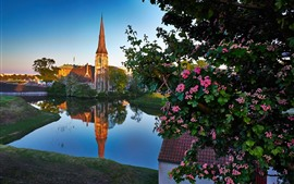 Copenhagen, Denmark, church, river, city, flowers