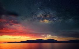 Корсика, Франция, горы, море, звездное небо, облака, закат
