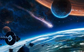 Preview wallpaper Creative picture, space, spaceship, comet, planet