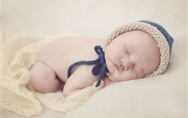 Preview wallpaper Cute baby sleeping, sweater cap