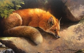 Preview wallpaper Cute fox, art picture