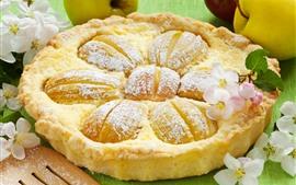 Delicioso pastel, manzanas, comida, flores.
