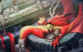 Preview wallpaper Dragon and cats, art picture