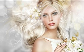 Preview wallpaper Fantasy blonde girl, butterfly, flowers