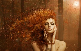 Preview wallpaper Fantasy girl, autumn, leaves, hair