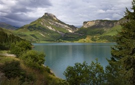 France, Alps, mountains, lake, trees, clouds