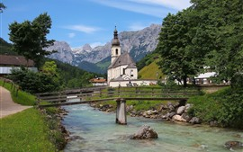 Alemanha, bavaria, bayern, igreja, rio, ponte, árvores