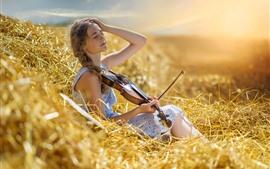 Menina, tranças, grama, violino, verão, raios de sol