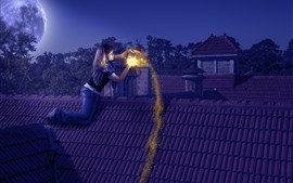 Preview wallpaper Girl, roof, moon, night, magic, shine