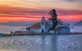 Grecia, monasterio, lago, niebla, mañana