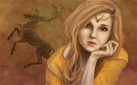 Preview wallpaper Green eyes fantasy girl, blonde, deer