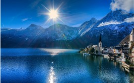 Preview wallpaper Hallstatt, Austria, lake, village, mountains, sun rays, glare