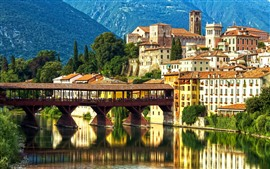 Preview wallpaper Italy, Veneto, Alps, city, river, mountains, bridge