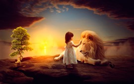 Preview wallpaper Little girl and lion, child, art picture