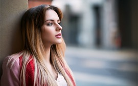 Long hair girl, look, side view, hazy background
