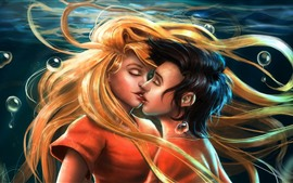 Amor, beso, niña y niño, imagen artística