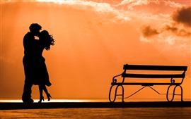 Lovers, silhouette, bench, sunset, river, romantic