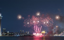 Macau, night, city, fireworks