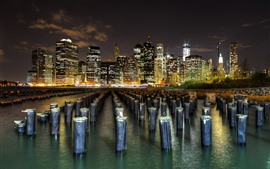 Manhattan, New York, skyscrapers, stumps, river, night, lights