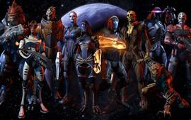 Preview wallpaper Mass Effect, warrior, planet