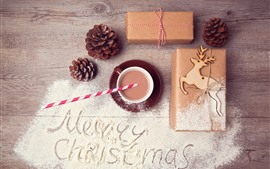 Preview wallpaper Merry Christmas, gift, powder, coffee, deer