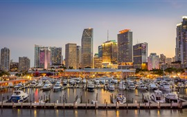 Miami, Biscayne Bay, USA, yachts, dock, city, skyscrapers, lights, dusk